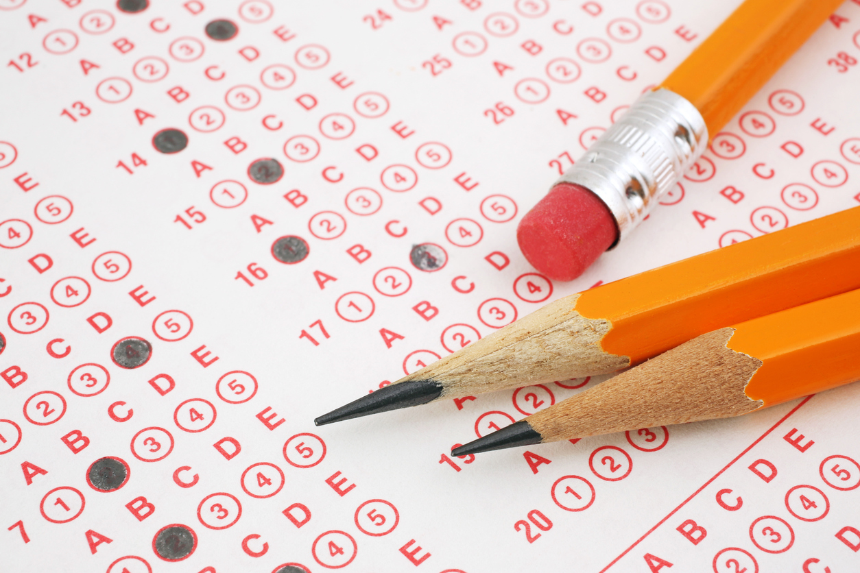 pencils and answer sheets for college admissions tests like the ACT and SAT