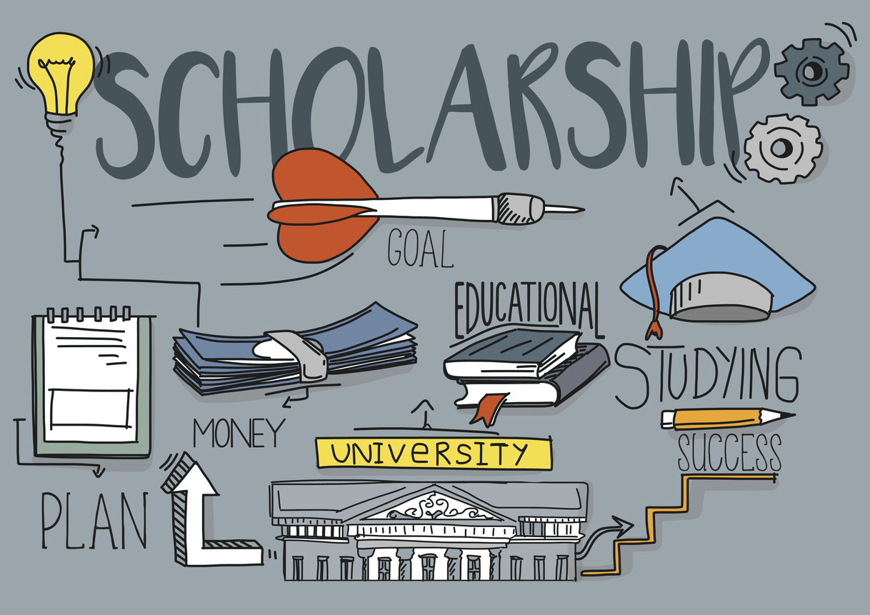 Graphic on grey background of college building, money, mortar board and other items associated with scholarship money.
