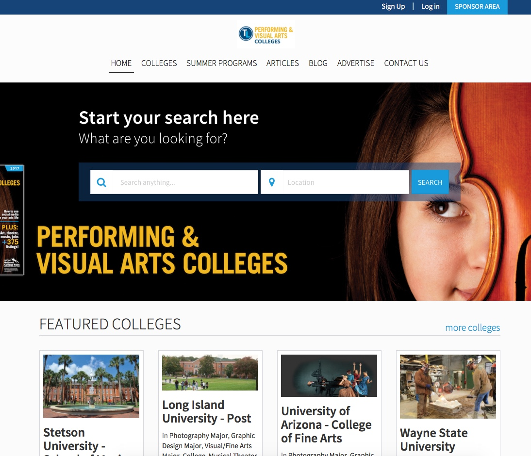 Performing & Visual Arts College Guide Microsite